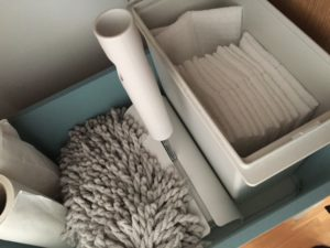 ダイソー フタ付き収納ボックス(大)と無印良品の掃除アイテム