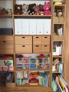 MUJI 無印良品:スタッキングシェルフで壁面収納化して子供のおもちゃを入れる