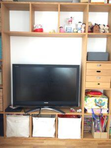MUJI 無印良品:スタッキングシェルフで壁面収納化してTVボード化