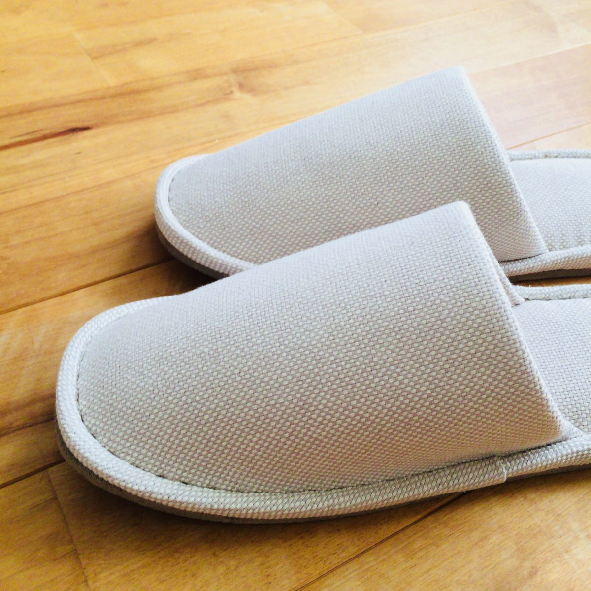 無垢材と綿バスケット織足底EVA左右のないスリッパ・L/ベージュ