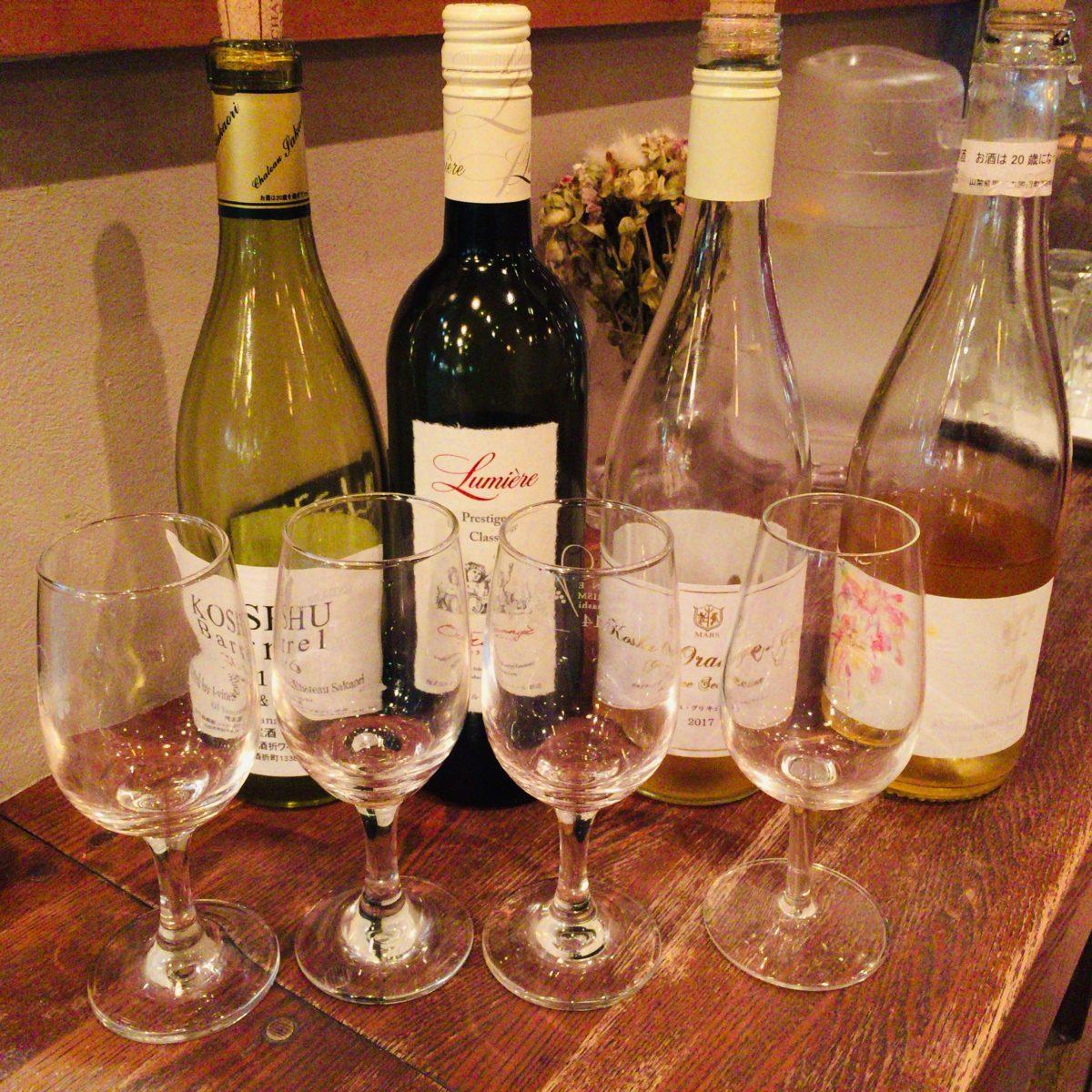 フォーハーツカフェ で試飲した山梨県産甲州ワイン