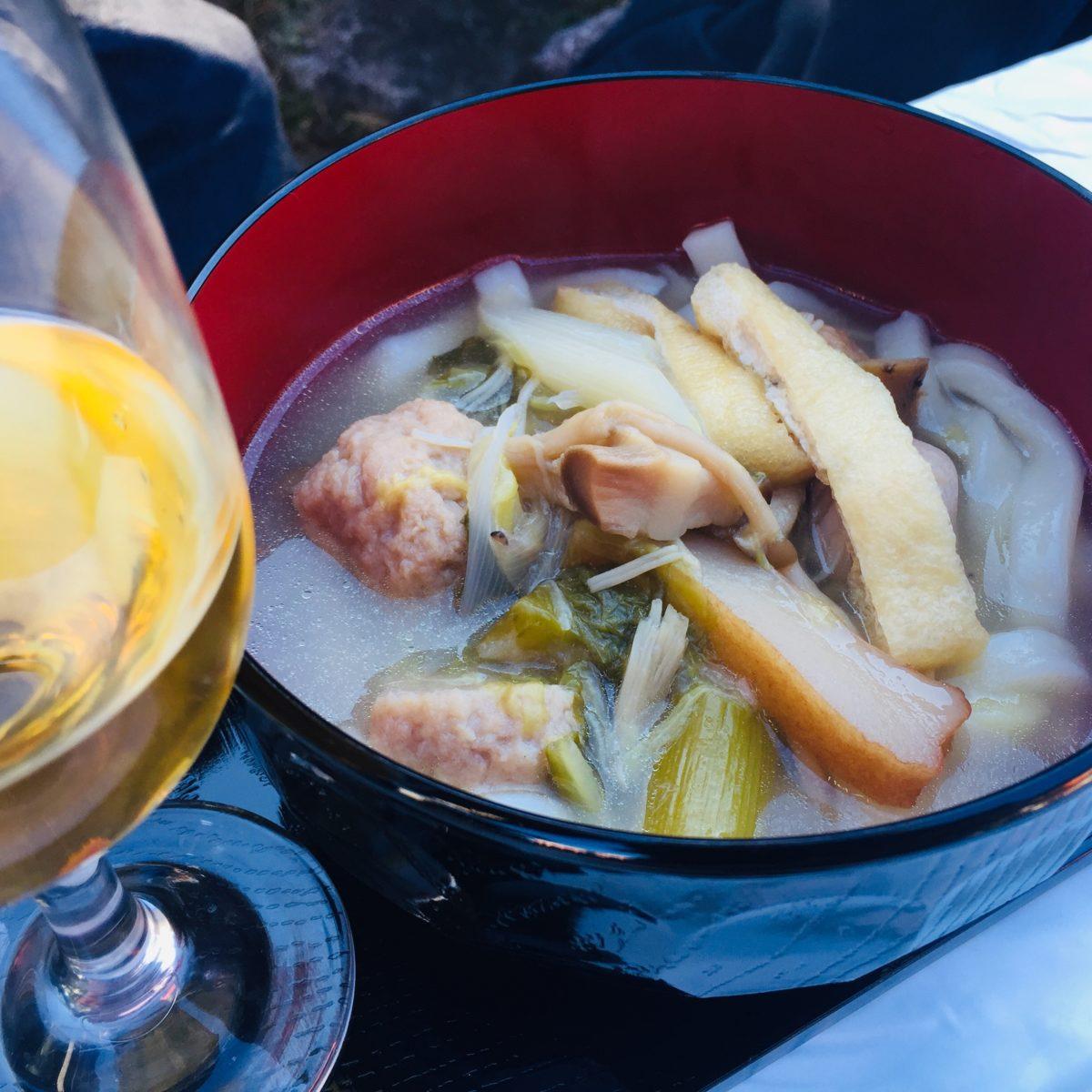 矢作洋酒での30年物の甲州と鳥塩ほうとう