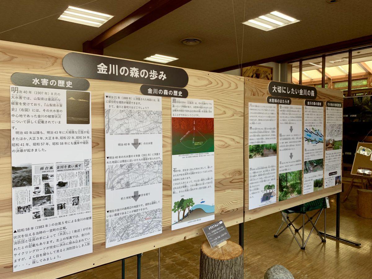 金川の森 どんぐりゾーンのサービスセンター内の歴史パネル