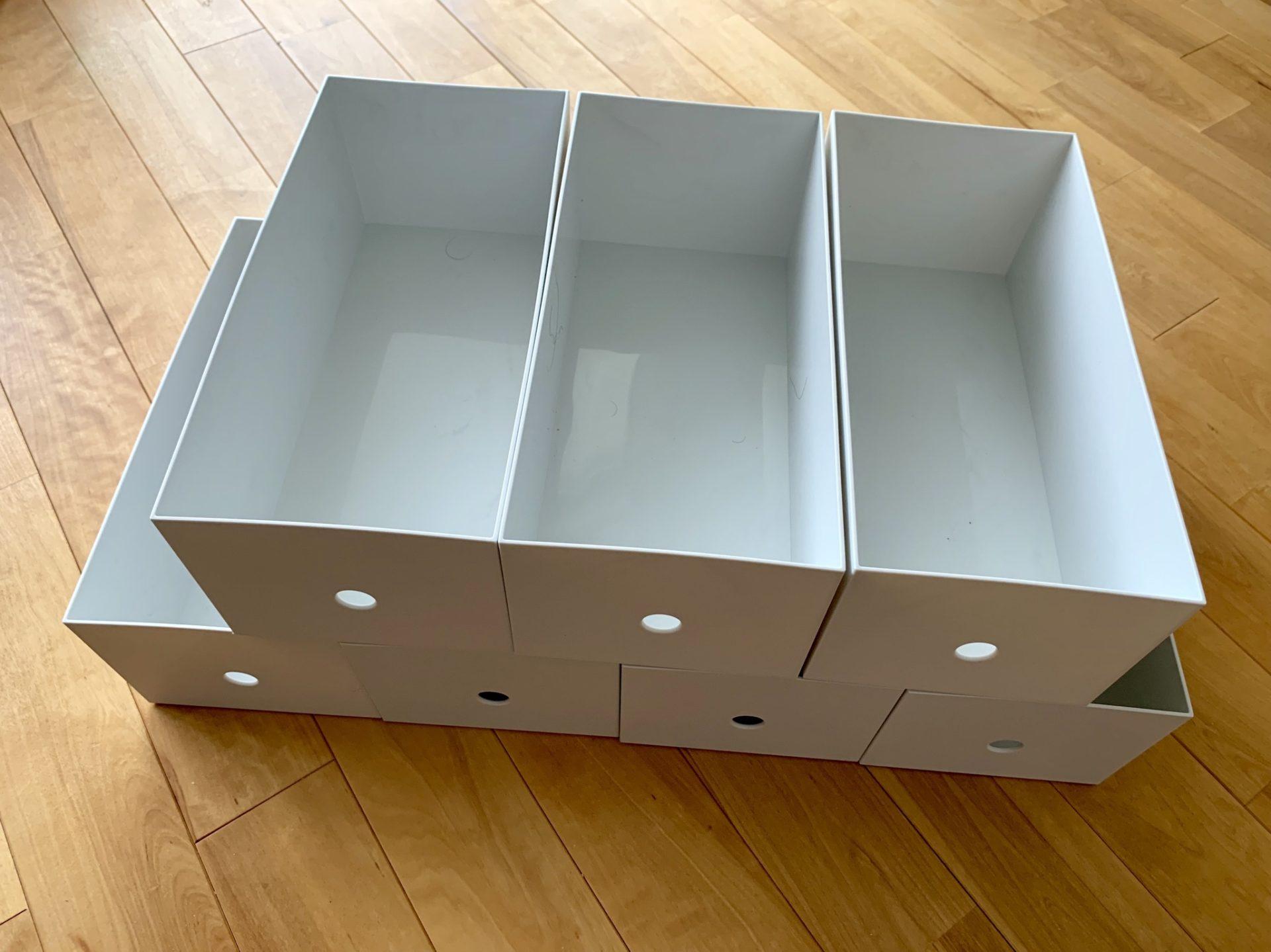 整理収納:MUJI 無印良品「ポリプロピレンファイルボックス・スタンダードワイド・ホワイトグレー・1/2」