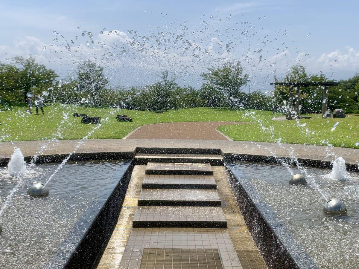夏の赤坂台総合公園の噴水