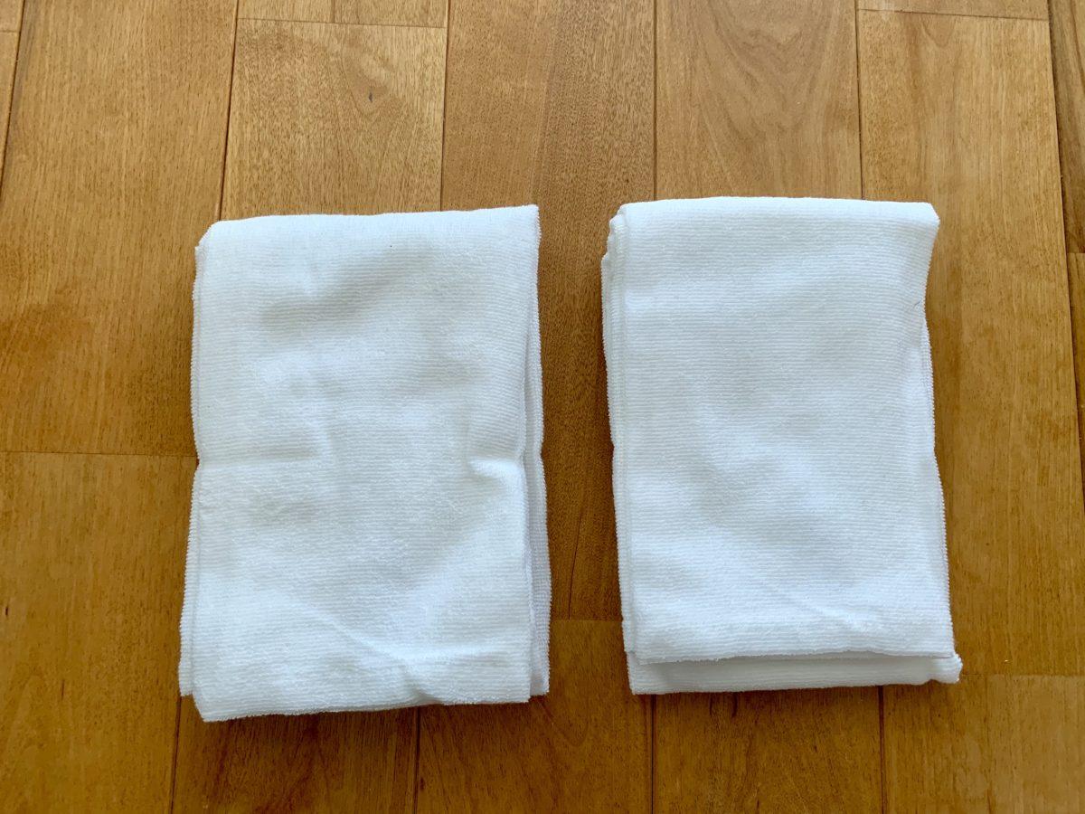 2枚組で490円の無印良品「オーガニックコットン・極薄手 巻いて結べる長タオル / オフ白」