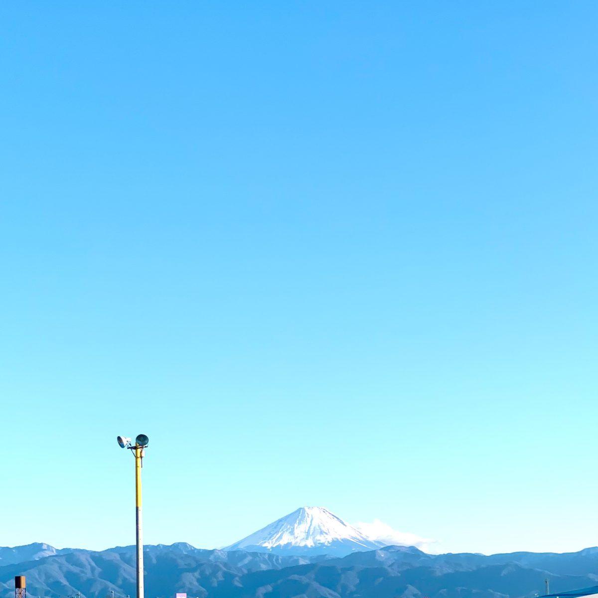 ラザウオーク甲斐双葉から眺める2月の富士山