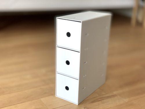 ポリプロピレン小物収納ボックス3段・A4 ホワイトグレー