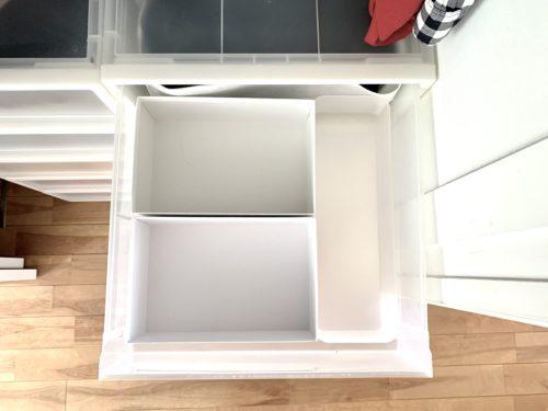 無印良品「衣装ケース」に配置した「ポリプロピレン整理ボックス・4」とD&DEPARTMENTの子供用靴箱
