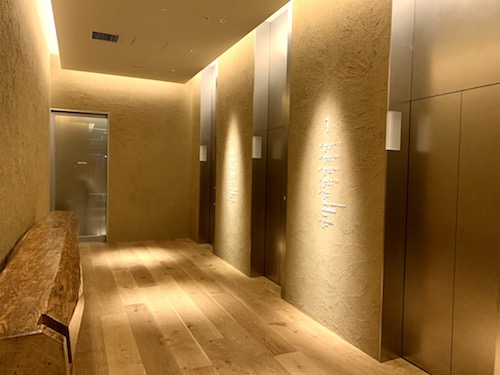 MUJI  HOTEL GINZAのフロントに行くためのエレベーター乗り場