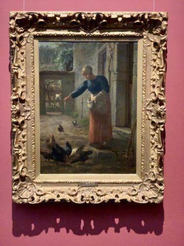 鶏に餌をやる女 1853 - 56年頃 油彩