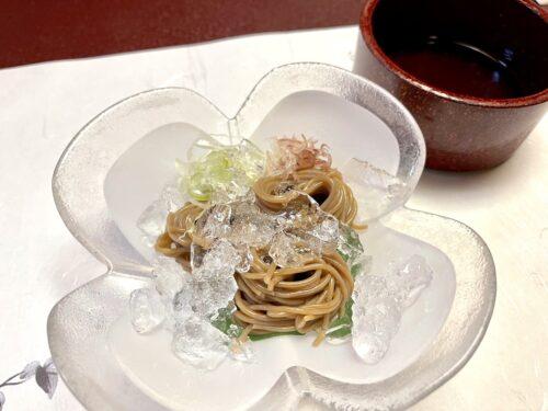 山梨・西山温泉「慶雲館」の食事 葉月の宴 <夕食> どんぐり麺